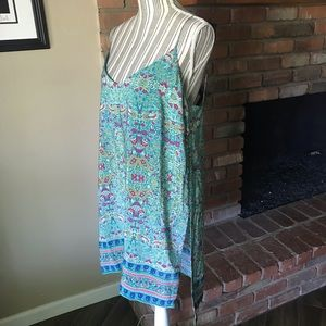 Anthropologie Dresses - Anthropologie Maeve Teal Boho Silk Slip Dress Sz M